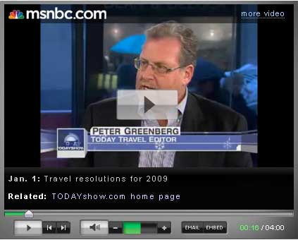 Peter Greenberg on the Today Show on New Year's Day to share some of his top travel resolutions for 2009.