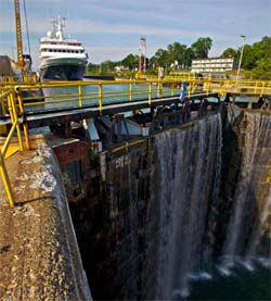 The Clelia II approaching a set of locks in the Great Lakes