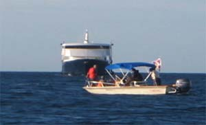 Safari Explorer being blocked from entering Molokai's Kaunakakai Harbor
