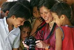 Showing native children a camera