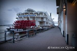 American Queen docked along side Cafe du Monde in New Orleans, LA.