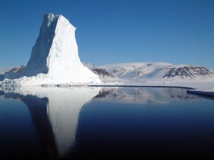 An iceberg at the edge of the Baffin Bay's sea ice
