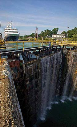 Yorktown approaching a dam in the St. Lawrence Seaway